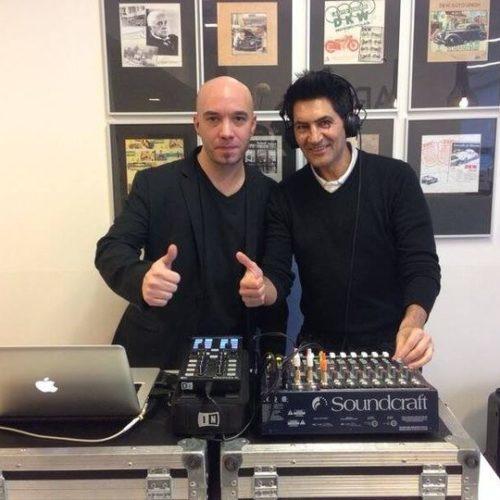 DJ Sergio Calderón con Iñaki Alcubilla de Arco Peluquería.
